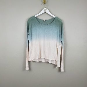 FREE PEOPLE OMBRE LINEN BLEND LONG SLEEVE BLOUSE